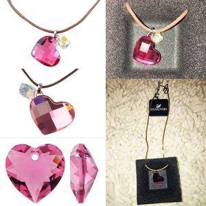 Swarovski Crystal Heart/Butterfly Necklace likeNIB